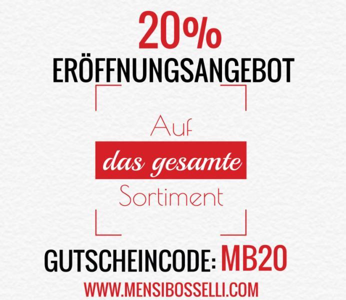 Angebot: Erhalten Sie 20% Eröffnungsangebot beim Kauf einer Herrenmode produkt und Accessoires unter www.mensibosselli.com